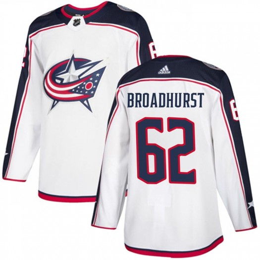 Alex Broadhurst Columbus Blue Jackets Youth Adidas Authentic White Away Jersey