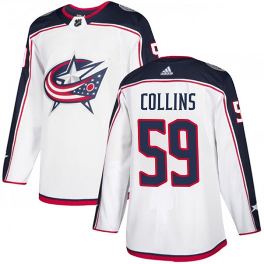 Ryan Collins Columbus Blue Jackets Youth Adidas Authentic White Away Jersey
