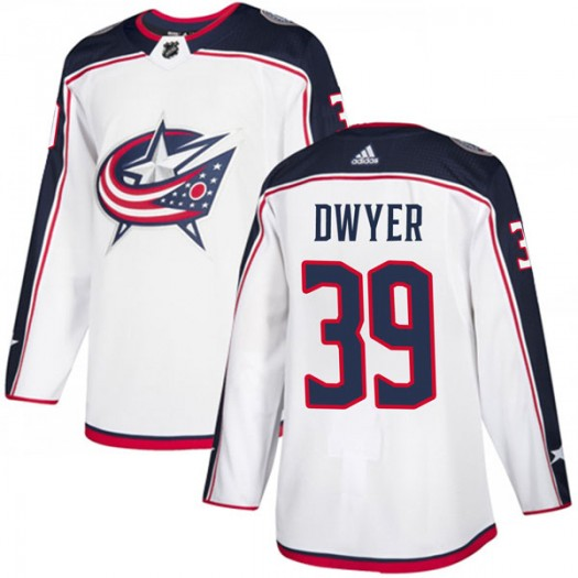 Patrick Dwyer Columbus Blue Jackets Youth Adidas Authentic White Away Jersey