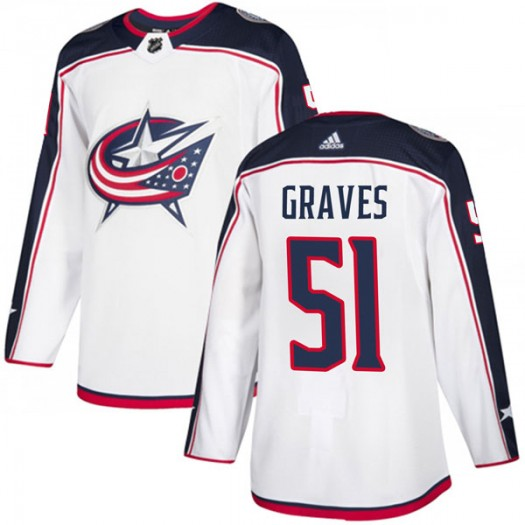 Jacob Graves Columbus Blue Jackets Youth Adidas Authentic White Away Jersey