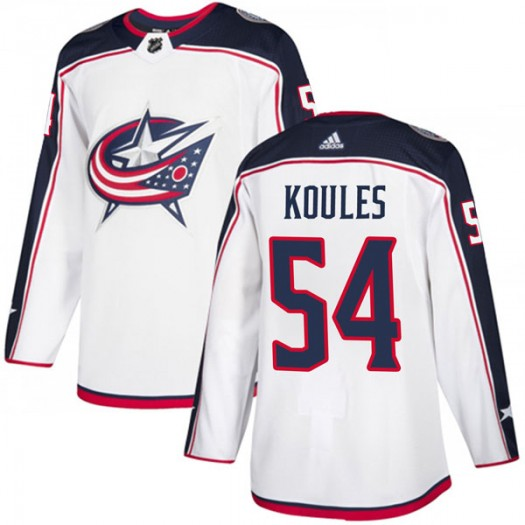 Miles Koules Columbus Blue Jackets Youth Adidas Authentic White Away Jersey