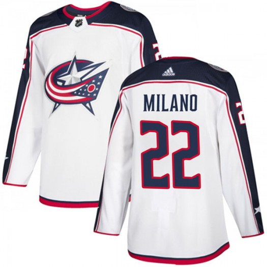 Sonny Milano Columbus Blue Jackets Youth Adidas Authentic White Away Jersey