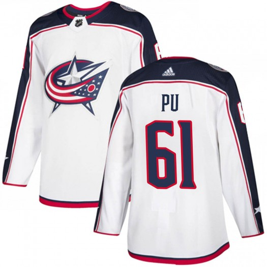Cliff Pu Columbus Blue Jackets Youth Adidas Authentic White Away Jersey