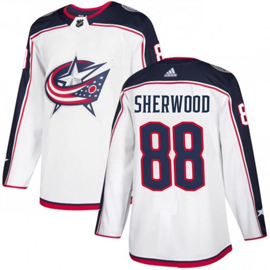 Kole Sherwood Columbus Blue Jackets Youth Adidas Authentic White Away Jersey
