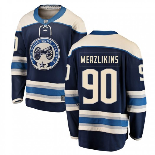 Elvis Merzlikins Columbus Blue Jackets Men's Fanatics Branded Blue Breakaway Alternate Jersey
