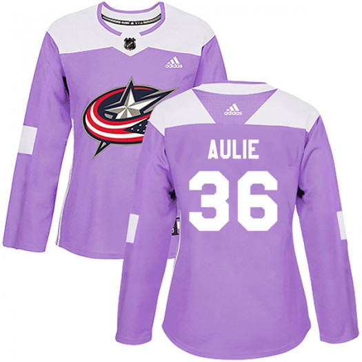 Keith Aulie Columbus Blue Jackets Women's Adidas Authentic Purple Fights Cancer Practice Jersey