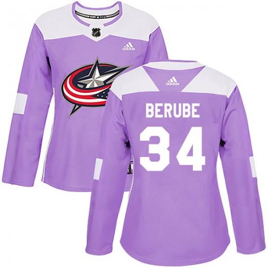 J-F Berube Columbus Blue Jackets Women's Adidas Authentic Purple Fights Cancer Practice Jersey