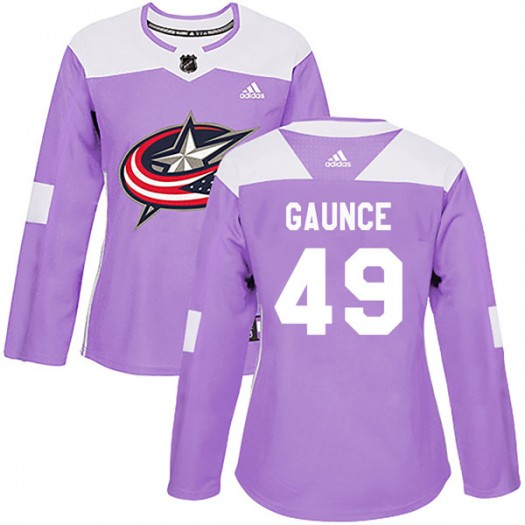 Cameron Gaunce Columbus Blue Jackets Women's Adidas Authentic Purple Fights Cancer Practice Jersey