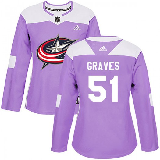 Jacob Graves Columbus Blue Jackets Women's Adidas Authentic Purple Fights Cancer Practice Jersey