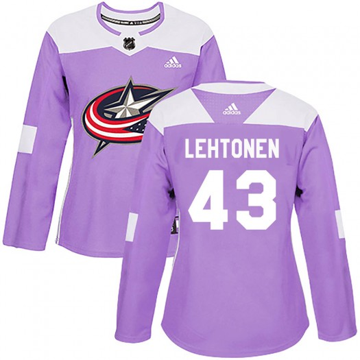 Mikko Lehtonen Columbus Blue Jackets Women's Adidas Authentic Purple Fights Cancer Practice Jersey