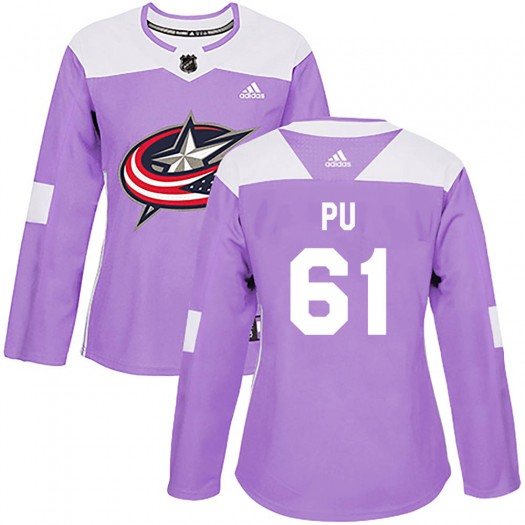 Cliff Pu Columbus Blue Jackets Women's Adidas Authentic Purple Fights Cancer Practice Jersey