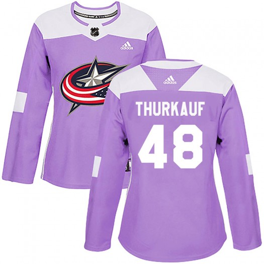 Calvin Thurkauf Columbus Blue Jackets Women's Adidas Authentic Purple Fights Cancer Practice Jersey