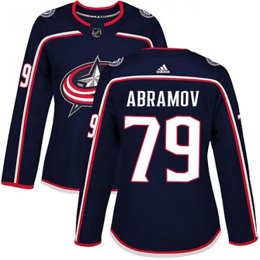 Vitaly Abramov Columbus Blue Jackets Women's Adidas Authentic Navy Home Jersey
