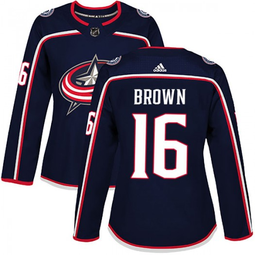 Mike Brown Columbus Blue Jackets Women's Adidas Authentic Brown Navy Home Jersey