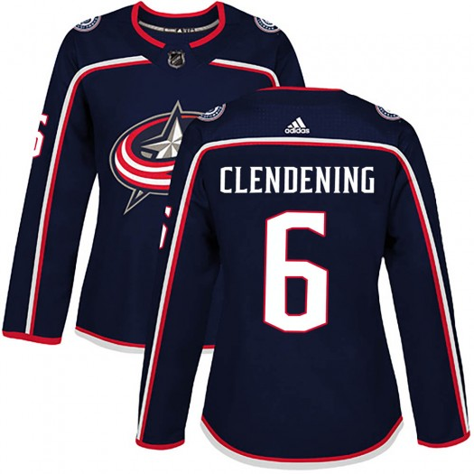 Adam Clendening Columbus Blue Jackets Women's Adidas Authentic Navy Home Jersey