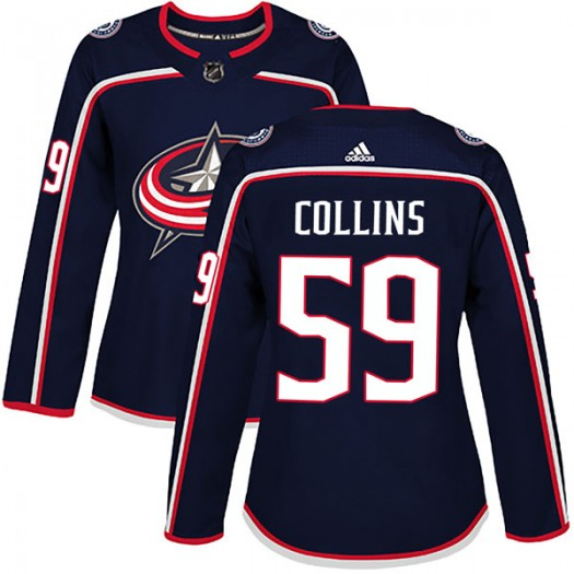 Ryan Collins Columbus Blue Jackets Women's Adidas Authentic Navy Home Jersey
