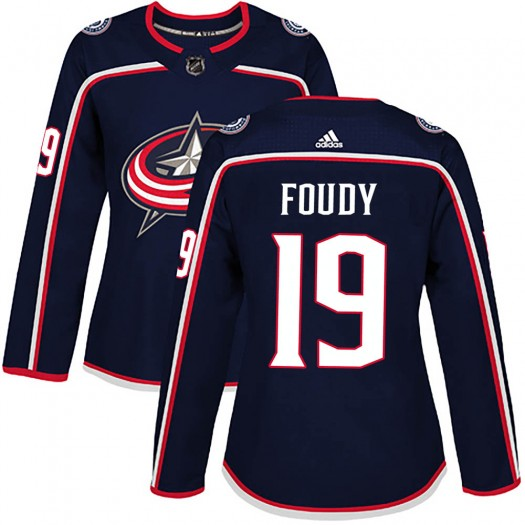 Liam Foudy Columbus Blue Jackets Women's Adidas Authentic Navy ized Home Jersey