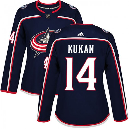 Dean Kukan Columbus Blue Jackets Women's Adidas Authentic Navy Home Jersey