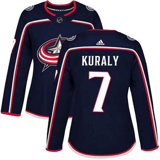 Sean Kuraly Columbus Blue Jackets Women's Adidas Authentic Navy Home Jersey