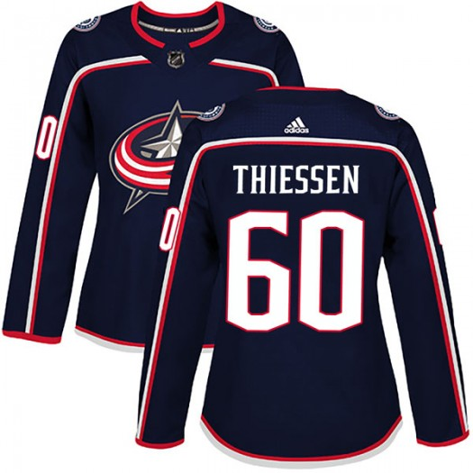 Brad Thiessen Columbus Blue Jackets Women's Adidas Authentic Navy Home Jersey
