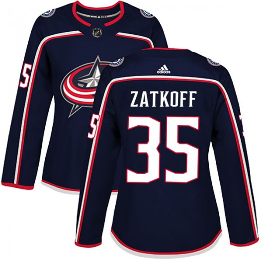 Jeff Zatkoff Columbus Blue Jackets Women's Adidas Authentic Navy Home Jersey