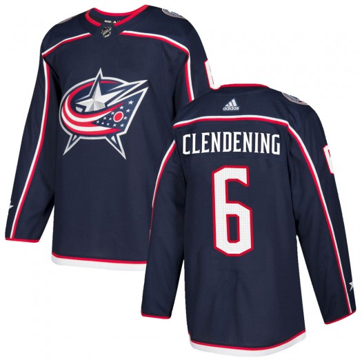 Adam Clendening Columbus Blue Jackets Men's Adidas Authentic Navy Home Jersey