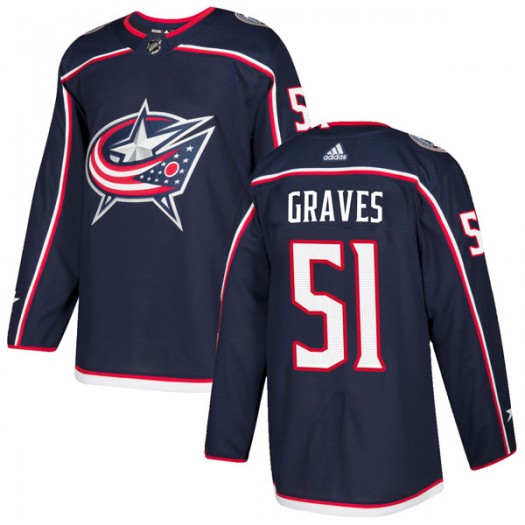 Jacob Graves Columbus Blue Jackets Men's Adidas Authentic Navy Home Jersey