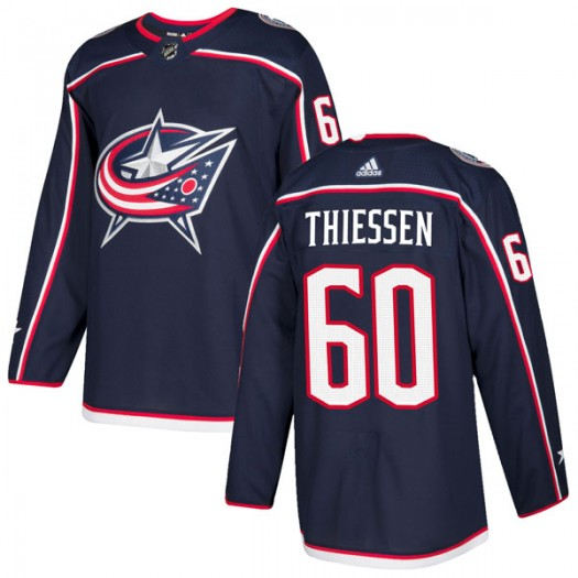Brad Thiessen Columbus Blue Jackets Men's Adidas Authentic Navy Home Jersey