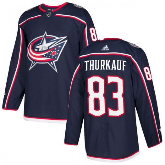Calvin Thurkauf Columbus Blue Jackets Men's Adidas Authentic Navy Home Jersey