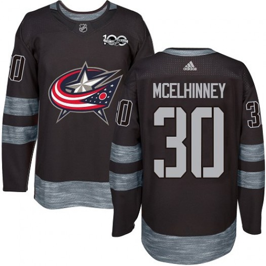 Curtis McElhinney Columbus Blue Jackets Men's Adidas Premier Black 1917-2017 100th Anniversary Jersey