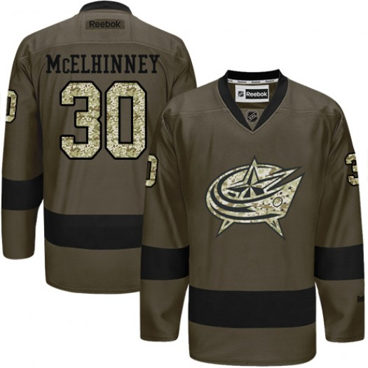 Curtis McElhinney Columbus Blue Jackets Men's Reebok Authentic Green Salute to Service Jersey