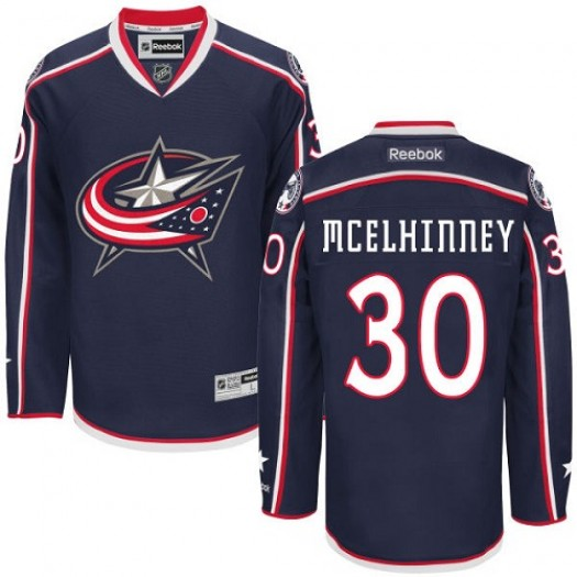 Curtis McElhinney Columbus Blue Jackets Men's Reebok Authentic Navy Blue Home Jersey