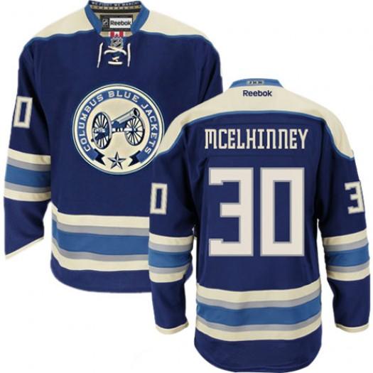 Curtis McElhinney Columbus Blue Jackets Men's Reebok Authentic Navy Blue Third Jersey