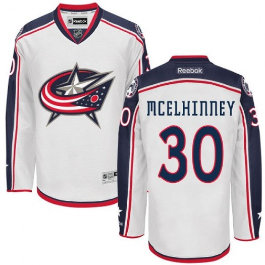 Curtis McElhinney Columbus Blue Jackets Men's Reebok Authentic White Away Jersey