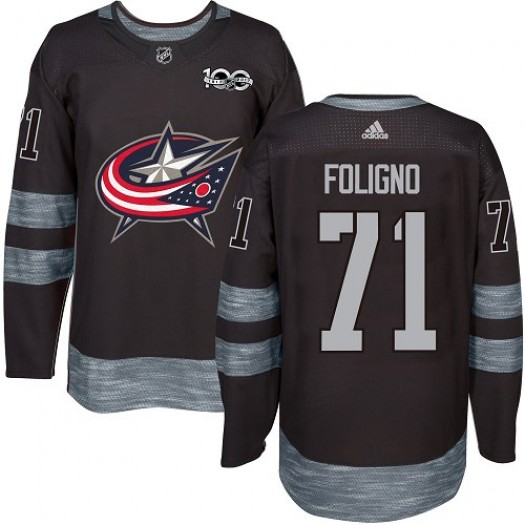 Nick Foligno Columbus Blue Jackets Men's Adidas Premier Black 1917-2017 100th Anniversary Jersey