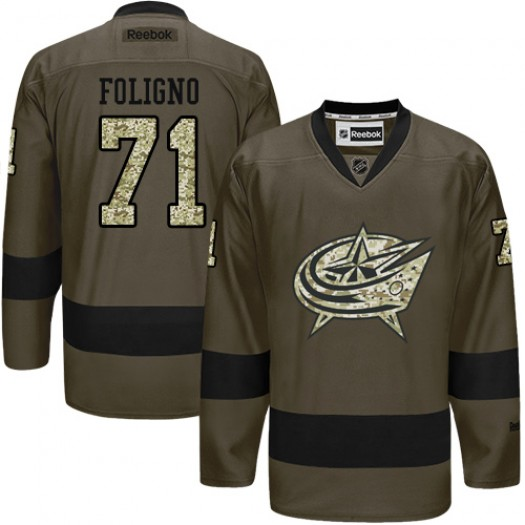 Nick Foligno Columbus Blue Jackets Men's Reebok Authentic Green Salute to Service Jersey