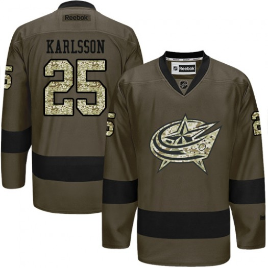 William Karlsson Columbus Blue Jackets Men's Reebok Authentic Green Salute to Service Jersey