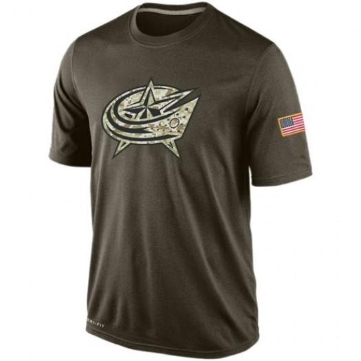 Columbus Blue Jackets Men's Nike Olive Salute To Service KO Performance Dri-FIT T-Shirt