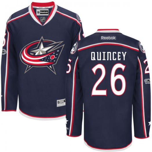 Kyle Quincey Columbus Blue Jackets Men's Reebok Premier Navy Home Centennial Patch Jersey