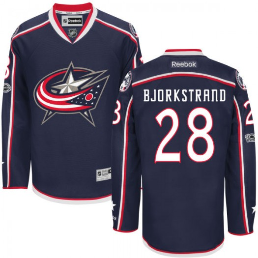 Oliver Bjorkstrand Columbus Blue Jackets Men's Reebok Premier Navy Home Centennial Patch Jersey