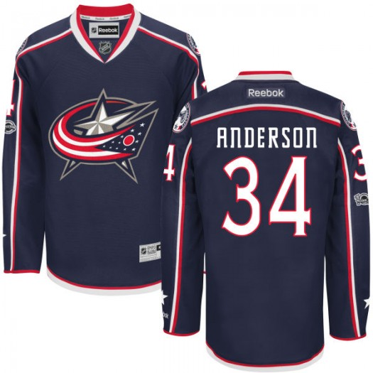 Josh Anderson Columbus Blue Jackets Men's Reebok Authentic Navy Home Centennial Patch Jersey