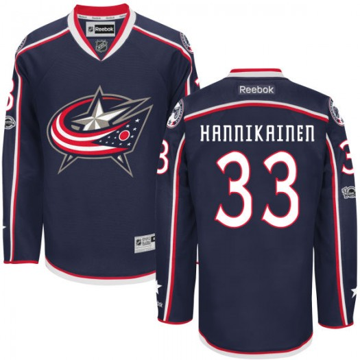 Markus Hannikainen Columbus Blue Jackets Youth Reebok Authentic Navy Home Centennial Patch Jersey