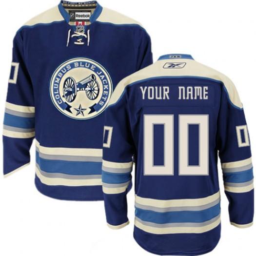 Men's Reebok Columbus Blue Jackets Customized Authentic Navy Blue Third Jersey
