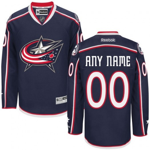 Men's Reebok Columbus Blue Jackets Customized Premier Navy Blue Home Jersey