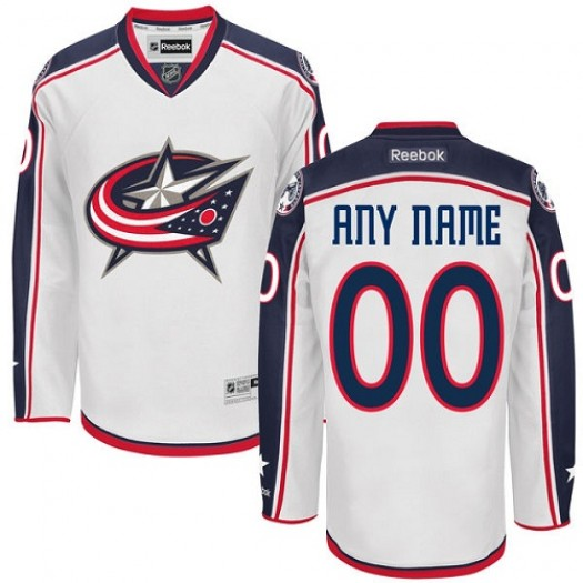 Men's Reebok Columbus Blue Jackets Customized Premier White Away Jersey