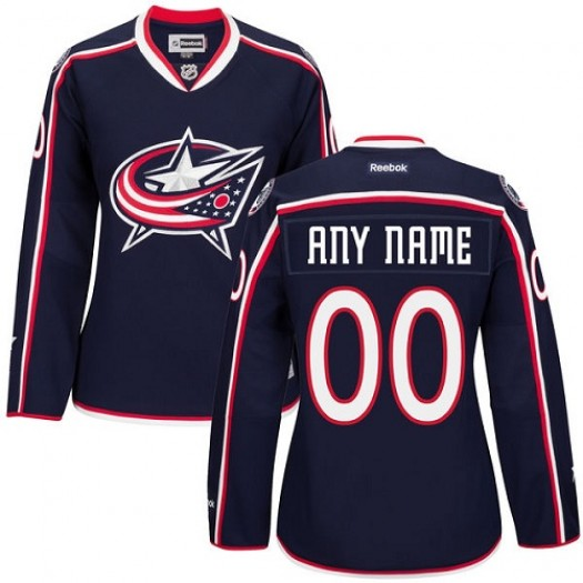 Women's Reebok Columbus Blue Jackets Customized Authentic Navy Blue Home Jersey