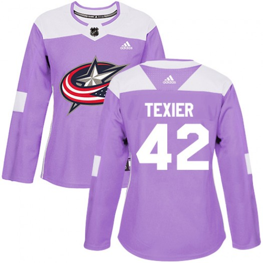 Alexandre Texier Columbus Blue Jackets Women's Adidas Authentic Purple Fights Cancer Practice Jersey