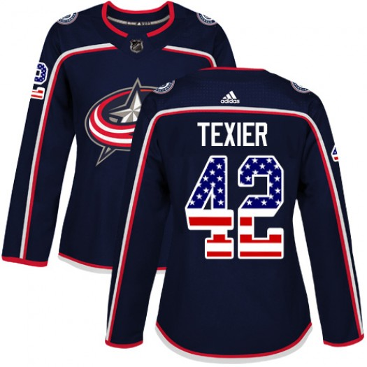 Alexandre Texier Columbus Blue Jackets Women's Adidas Authentic Navy Blue USA Flag Fashion Jersey