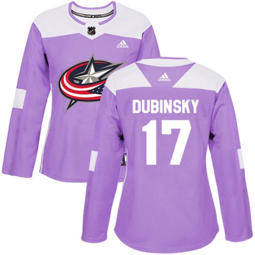 Brandon Dubinsky Columbus Blue Jackets Women's Adidas Authentic Purple Fights Cancer Practice Jersey