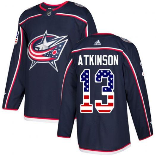 Cam Atkinson Columbus Blue Jackets Men's Adidas Authentic Navy Blue USA Flag Fashion Jersey